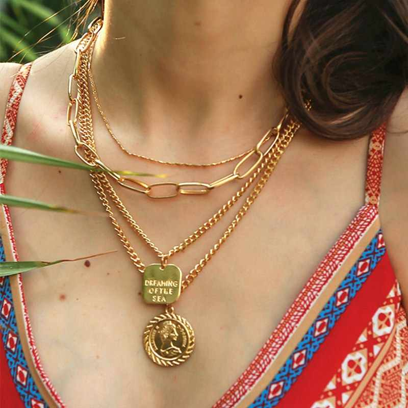 Vintage Gold Carved Coin Pendant Necklace Exaggerated Punk Multilayer Metal Necklaces for Women Party Summer Beach Jewelry