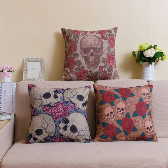 45X45CM FLOWER SKULL PILLOW CASE (3 VARIAN)