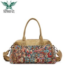 Black Butterfly original design ethnic style Women Shoulder Bag Bohemian Printing Tote female crossbody bags bolsos