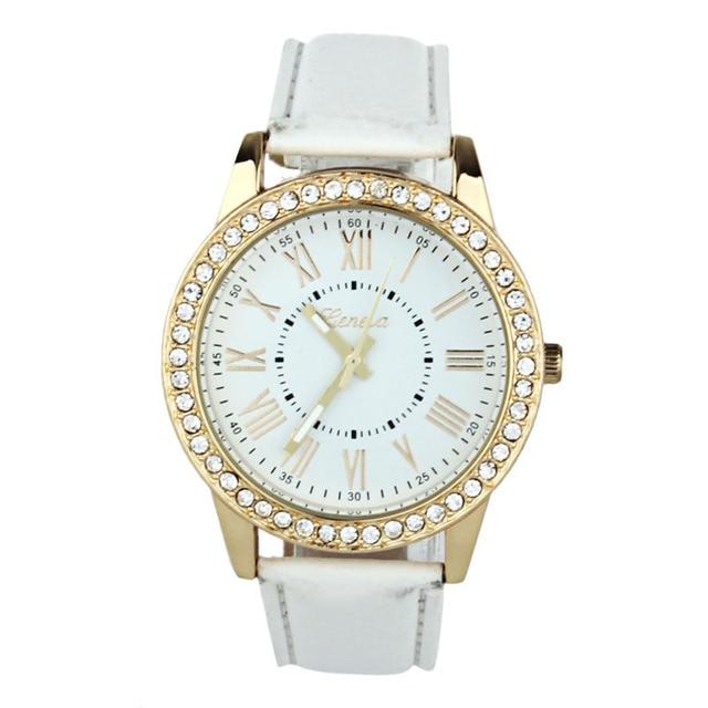 2018 New Quartz Watch Women Roman Numerals Dial Wristwatch Women's Leather Rhine