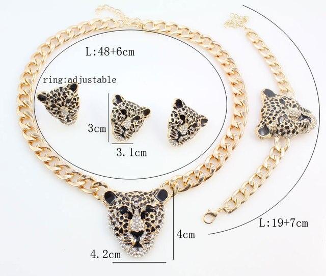 модный браслет с головой леопарда серьги ожерелье кольцо набор фотография
