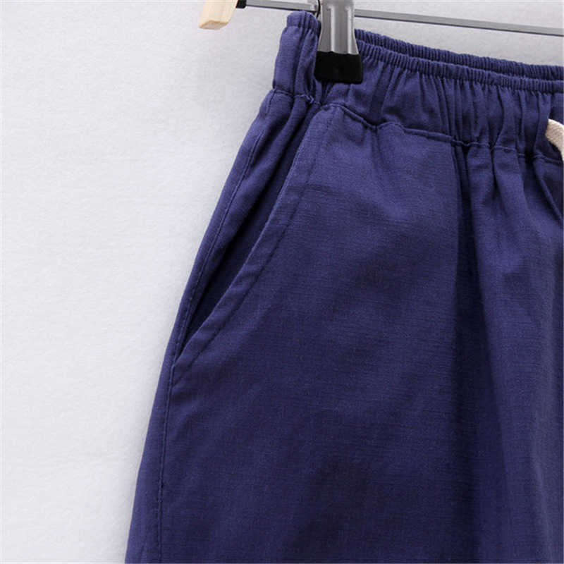 Summer Short Women Plus Size Hight Waisted Cotton Linen Short Feminino Loose Wide Clothes For Women Elastic With Belt 2019 3xl