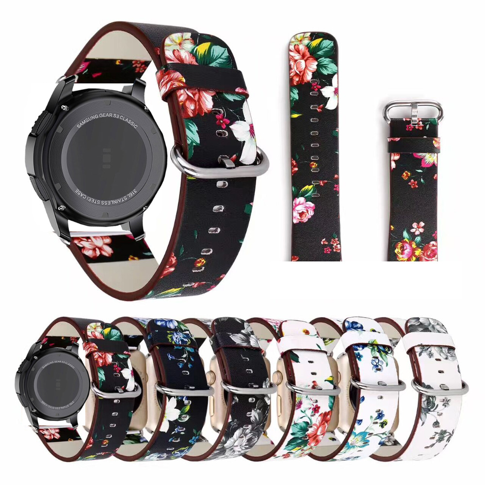 National Flower Printed Leather Strap For Zenwatch 1 2 Ticwatch 1 Band Huami Amazfit 2/1 Bracelet