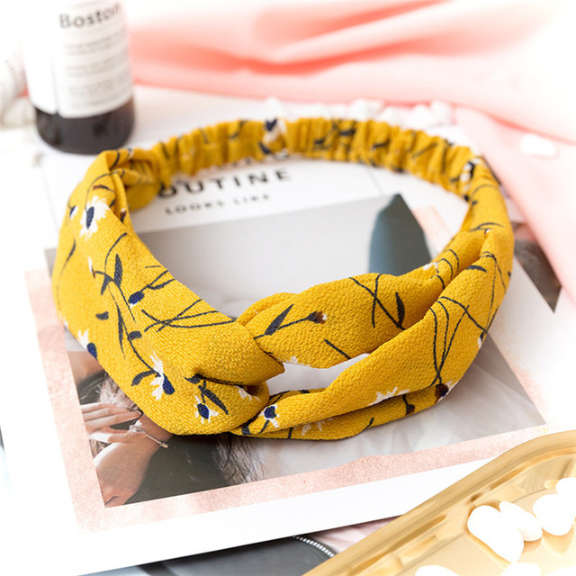 Women  Headband Vintage Cross Knot Elastic Hair Bands Soft Solid Girls Hairband Hair Accessories 5