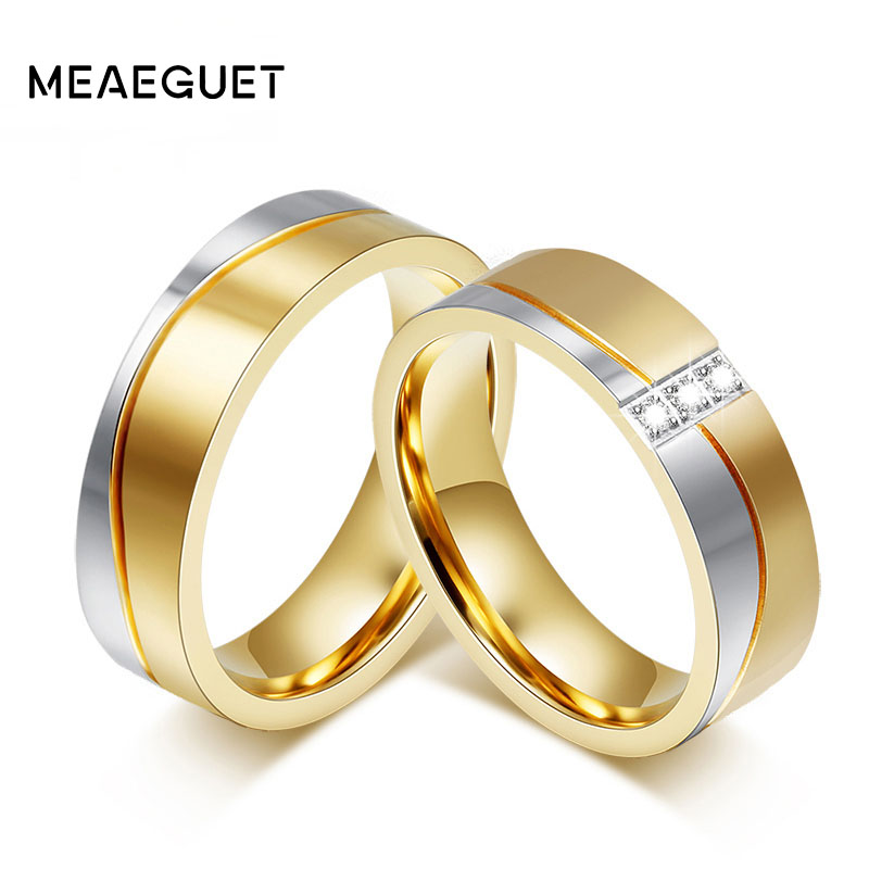 Meaeguet Fashion Couple Wedding Rings For Lovers Gold-Color Stainless Steel Engagement Anel Jewelry USA Size