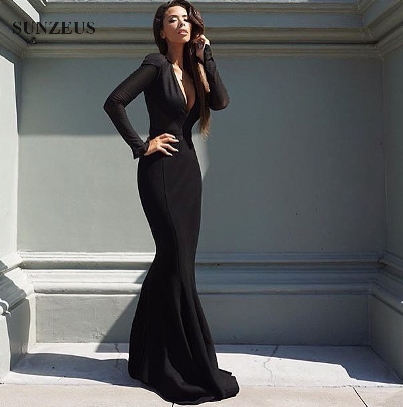 Black bridesmaid dresses long sleeves
