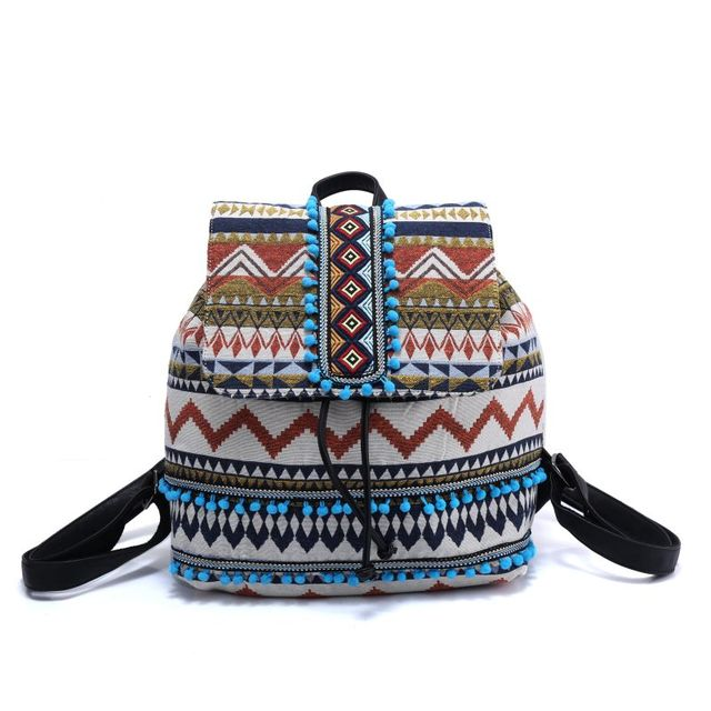 women Embroidered Bohemian hippie stripe backpack ladies bags canvas shoulder bag Boho Cotton Fabric Bag national ethnic bags