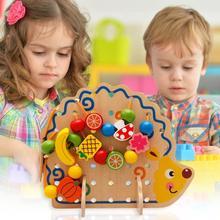 Blocks Balance-Bead Hedgehog Teaching-Aids Montessori Fruit Handheld Beads Wood Children