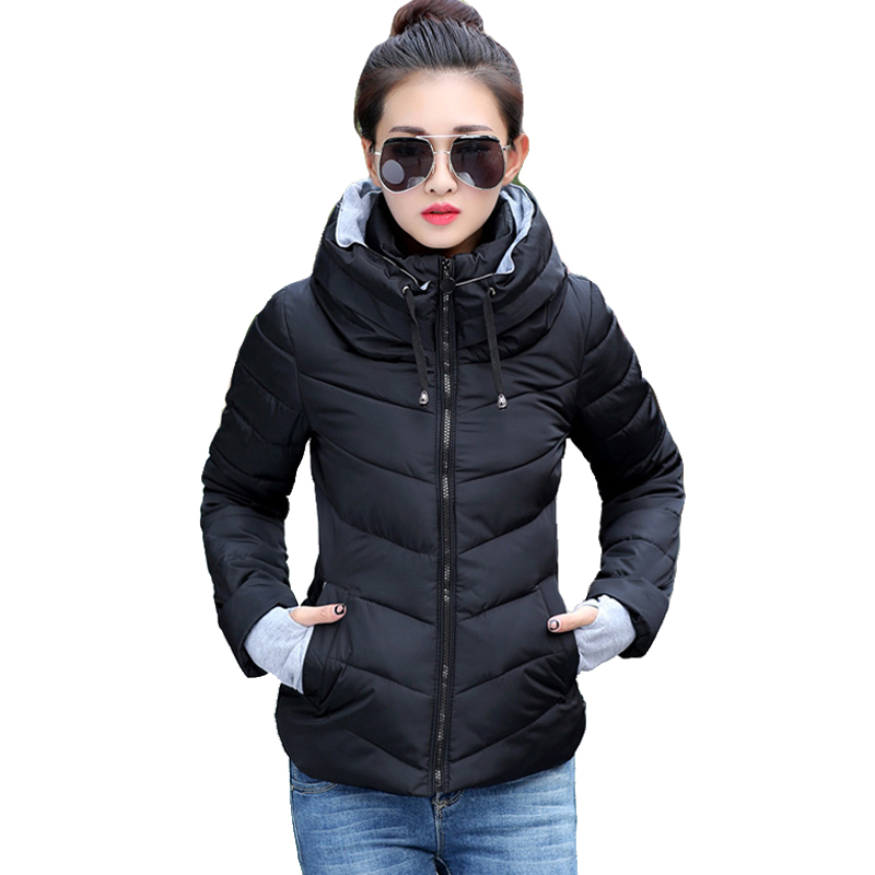 2019 women winter   jacket   stand collar cotton padded slim hooded female   basic     jacket   outerwear coat casaco feminino