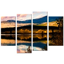 4 Panels/Set Modern Mountain And River Landscape Canvas Painting Wall Art Spectacular Sunshine Picture For Living Room