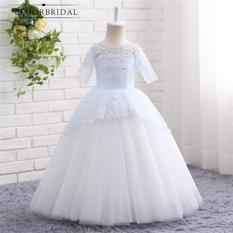 Modest Ball Gown   Flower     Girl     Dresses   Floor Length Vestidos De Comunion 2019 Toddler   Girls   Weddings Evening Party Gowns