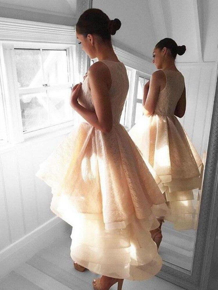 Fée ivoire haute bas robes de bal 2019 col rond à plusieurs niveaux Organza dentelle robes de Graduation robe de bal courte robes de retour
