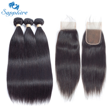Sapphire Straight Remy Human Hair Bundle With Closure 1B# Color For Hair Salon High Ratio Longest Hair PCT 15% 4*4 Lace Closure