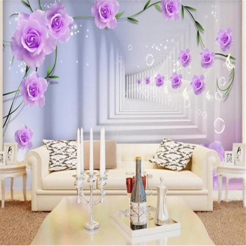 Custom Photo Wallpaper Modern 3D Relief Rose Murals Purple Flowers Wall Papers for Walls 3D Living Room Bedroom Home Decor 3d photo wallpaper romantic bedroom 3d wall murals for living room european style town street wall murals wallpaper for walls 3d