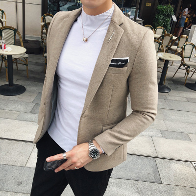 2018 Spring And Autumn New Woolen Small Suit Male Youth Slim Korean Version Of The Tide Handsome Jacket Casual Suit Men's Shirt