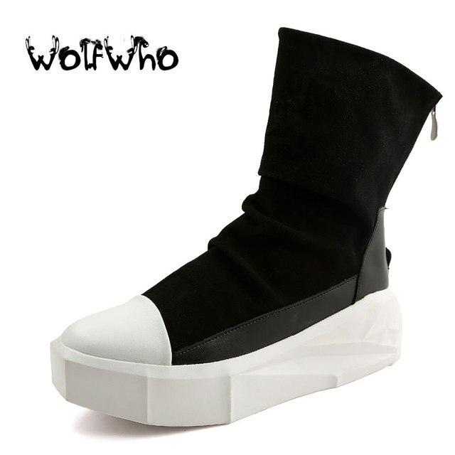 Новый Оуэн Мужчины 8 см Высота Увеличение Платформа Сапоги Обратно Молнии Кожа Мужской обуви Смешанные Цвета Y3 Высокого Топ Черный Белый мужские Ботинки