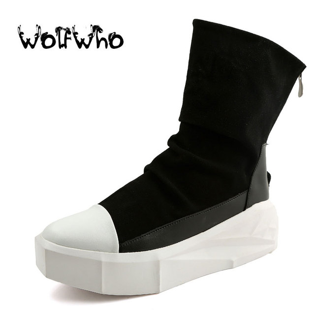 New Owen Men 8cm Height Increasing Platform Boots Back Zip Leather Shoes  Male Mixed Colors Y3 High Top Black White Men s Boots e83f93096962