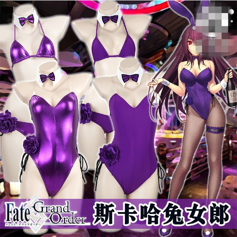 FGO Scathach Cosplay Fate/Grand Order Scathach Cosplay costume Scathach swimsuit jumpsuit bunny girl cosplay summer swimwear bik-in Anime Costumes from Novelty & Special Use    1