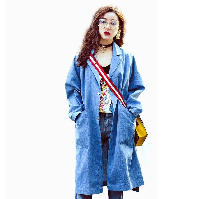 [XITAO] 2017 оригинальный дизайн новая коллекция весна 2017 женщин высокого сплит металлические пряжки джинсовые BF прилива длинным рукавом широкая талия траншеи BF013