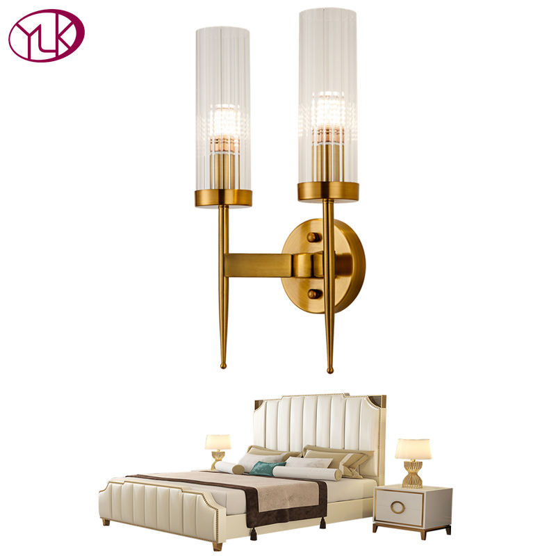 Youlaike Modern Luxury LED Wall Sconce Lighting Gold Bronze Bedside Living Room Wall Lamp Glass Lampshade