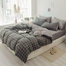 Funda de edredón de algodón lavada Vintage, juego de cama azul gris doble tamaño King, juegos de cama Ultra suave, funda de almohada