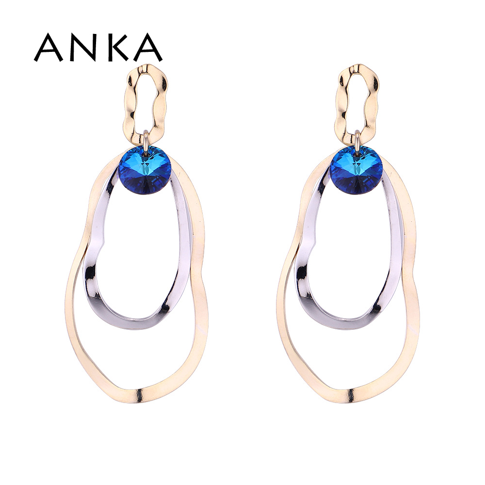 ANKA Drop Tassel Austrian Crystal Earrings 2019 Style Color Bermuda Blue 001 With Crystals from Austria #136741