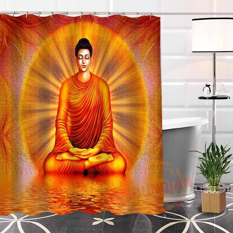 Best Nice Custom Buddha Shower Curtain Bath Curtain Waterproof Fabric  Bathroom MORE SIZE LQ#2