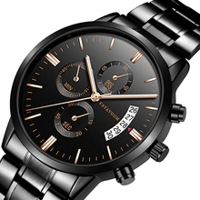 VA VA VOOM men's stainless steel belt business casual calendar quartz watch waterproof black steel Montre homme