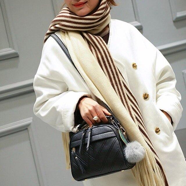 Stylish Women Handbag PU Leather Cute Mini Messenger Shoulder Bags With Ball Toy Bolsa Feminine Female Party Shopping Handbags 1