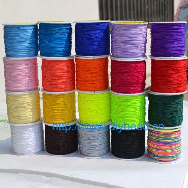 9180fc89bf03 20 colores 20 m de cable de Nylon hilo nudo chino Macrame pulsera de cordón  trenzado