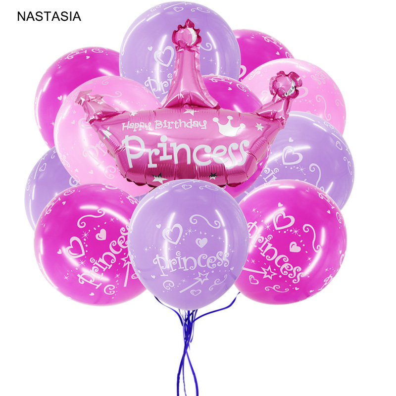 NASTASIA 10/pcs <font><b>princess</b></font> uminum film ballon and printed balloon birthday <font><b>party</b></font> decorations kids baby shower supplies image