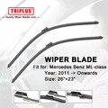 """Wiper Blade for Mercedes Benz ML Class W166 (2011-Onwards) 1set 26""""+23"""",Flat Aero Beam Windscreen Wiper Frameless Soft Blades"""