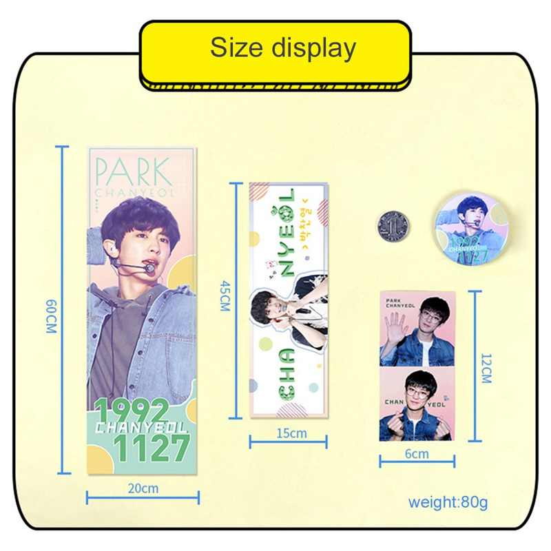 1 Set K-pop EXO Concert Support Hand Banner BaekHyun Chan Yeol Fabric Hang Up Poster With Stickers Badges