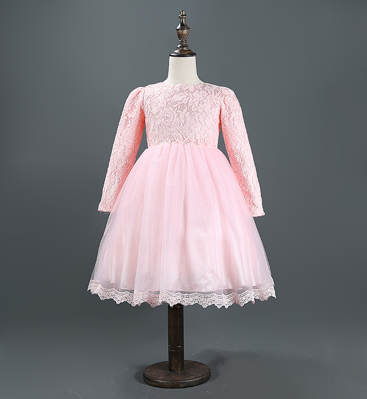 White Pink Free shipping Fashion Baby Girls Clothing long sleeve lace Dresses Bow Formal Dress High