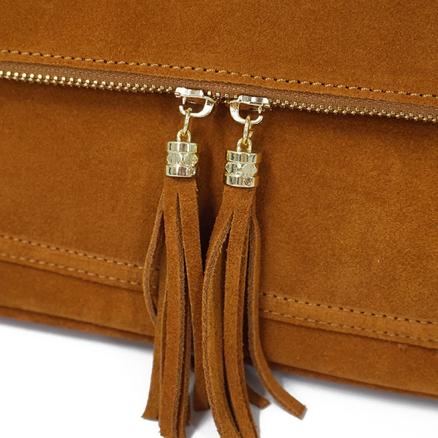 LilyHood Women Genuine Leather Fringe Shoulder Bags Fashion Cow Suede Tassel Brown Chain Multi Pockets Crossbody Bucket Bags 3