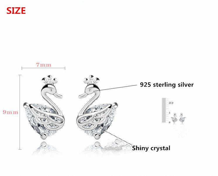 Оптовая Продажа 925 Стерлинговое Серебро Модный Блестящий кристалл маленький лебедь животное ladies'stud серьги ювелирные изделия женщины Анти аллергия дешево