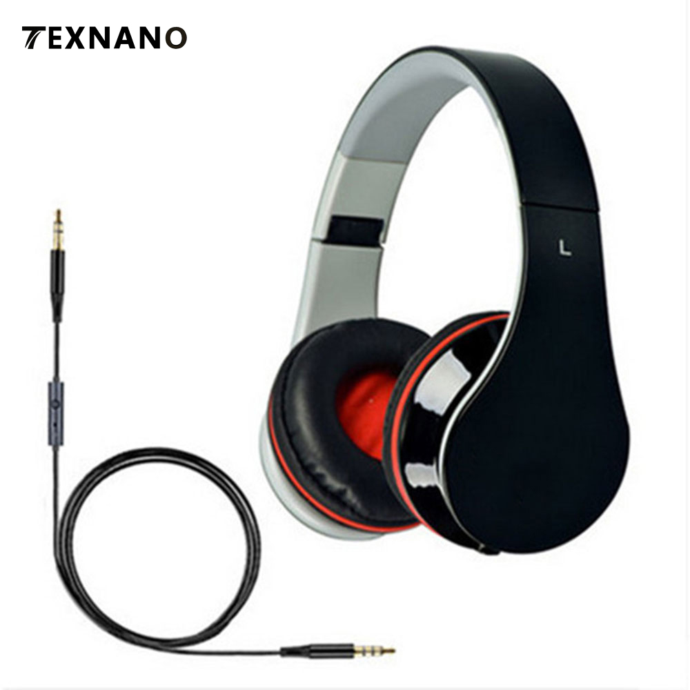TEXNANO Wired Headphones With Microphone Over Ear Headsets Bass HiFi Sound Music Stereo Earphone For iPhone Xiaomi PC Phones Mp3 sound intone c18 adjustable over ear headpones wired hifi sound stereo headsets with microphone for phone music computer gaming