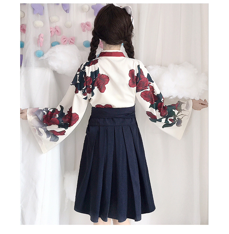 Girls Japanese Style Retro Kimono Floral Long Sleeve Woman Party Dress Summer Fashion Outfits Top Bow Skirt Haori for Female 16