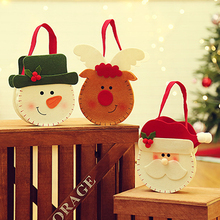 10 Pcs/ Lot xmas decor handbag top grade felt 3D Santa Claus Elk snowman gift bag Hanging Creative Christmas New Year Candy Bags