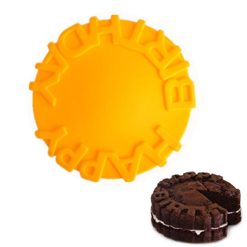 Wulekue Feliz Cumpleaños Redondo Pan Molde de Pastel de Silicona de Cocina Herra