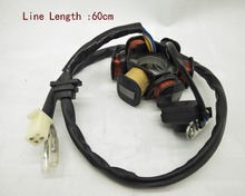 A25 GY6-125 6 pole 5 Wires Motorcycle Scooter Generator Coils Magneto Stator for 125cc and 150cc Engine ATV Go Karts Mopeds