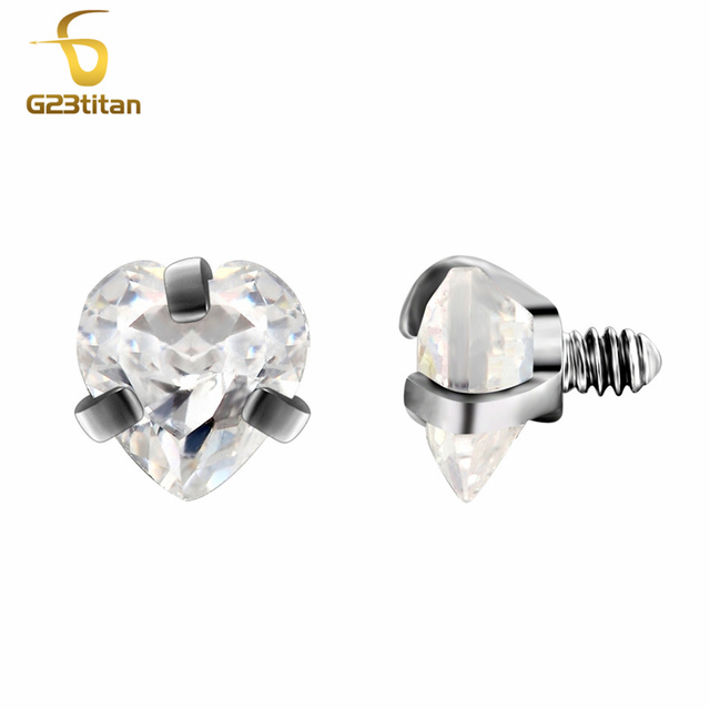 G23titan Body Piercing Ball 16G Internally Threaded Heart Style Lip Eyebrow Tongue Belly Navel Ring Body Jewelry Piercing Parts 3