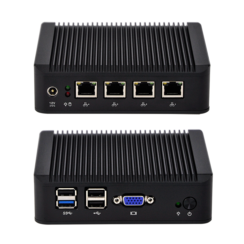 QOTOM-Q190G4U Fanless 4 LAN industrial computer latest desktop computers thin client pc win 7/ win 8/ win 10 Linux 12V dc 12v desktop pc win 7 win 8 win 10 linux kingdel mini industrial pc with celeron 1037u processor x86 mini pc dual lan