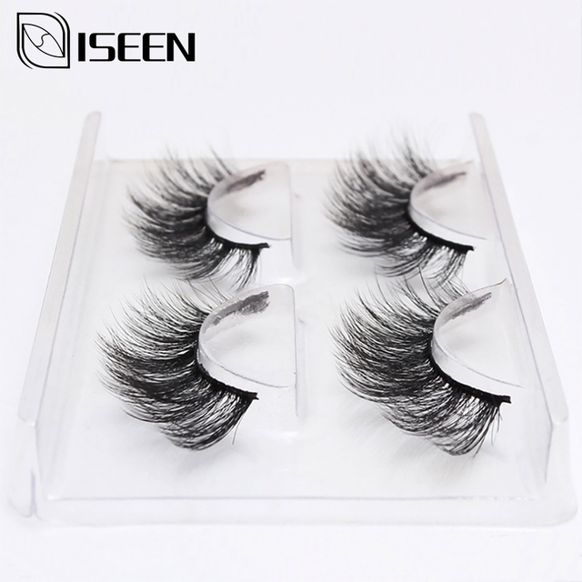 ISEEN 1/2 Pairs Natural False Eyelashes Fake Lashes Long Makeup 3d Mink Lashes Eyelash Extension Mink Eyelashes For Beauty