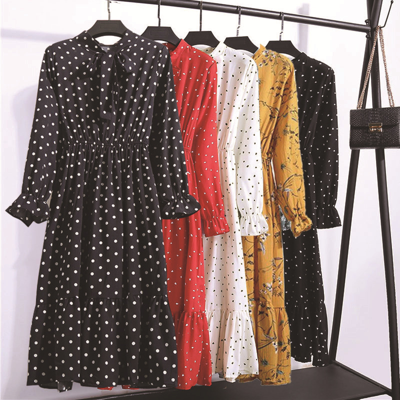 2019 Autumn Women Dress For Ladies Long Sleeve Polka Dot Vintage Chiffon Shirt Dress Casual Black Red Floral Winter Midi Dress in Dresses from Women 39 s Clothing