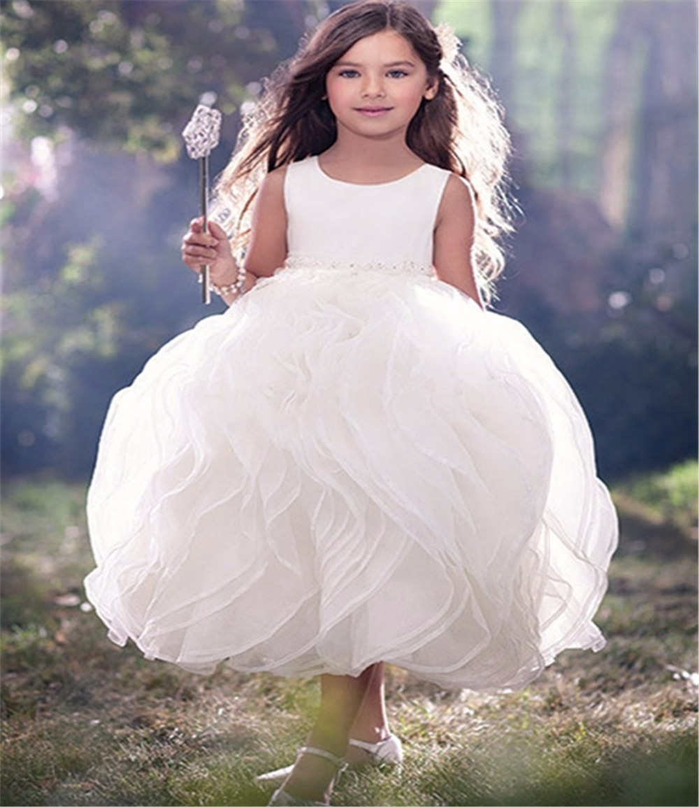 New Arrival 2016   Girls   Communion   Dress   First Party Mid Calf Ball Gown Ivory   Flower     Girl     Dresses   for Weddings Vestido De Daminha
