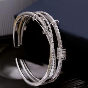 Image 2 - Mocai Fashion Design Cross Activity Small Circle Open Bangles For Women Bracelet Jewelry ZK40