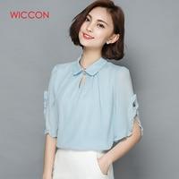 Wiccon mujeres Blusas 2018 casual elegante ol gasa blusa suelta dulce blusas Tops Camisas más tamaño rosa/ blanco/azul