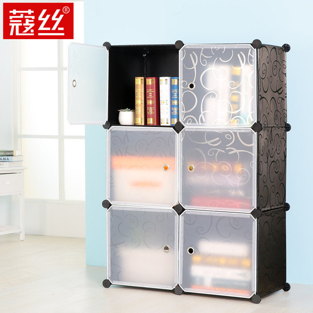 Kou wire free combination bookcase bookcase shelving storage     Kou wire free combination bookcase bookcase shelving storage cabinets  lockers simple assembly grid shelves plastic