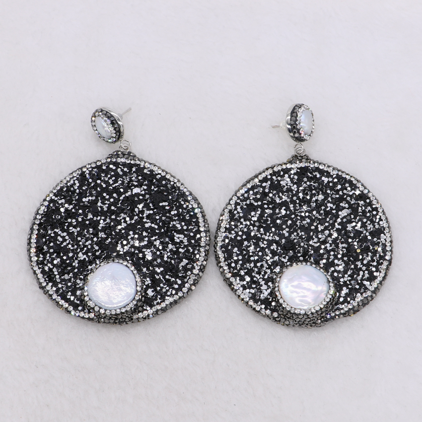 Fashion Square Abalone stone earrings pave rhinestone earrings High quality  shell earrings wholesale jewelry earrings 3880 fb76d4fa0138